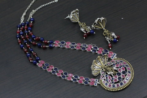 Shri Krishna SheshNaag Necklace - Ruby Blue
