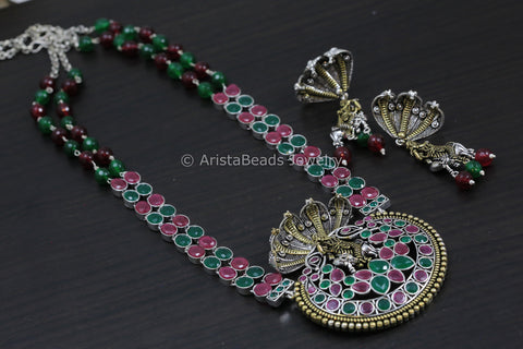 Shri Krishna SheshNaag Necklace - Ruby Green