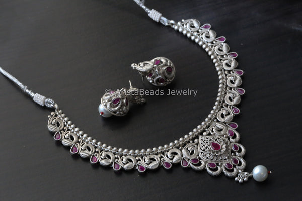 Oxidized Ruby AD Necklace