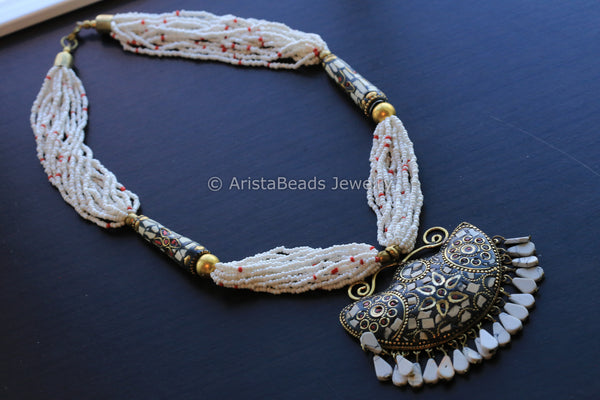 White Mosaic Pendant Necklace