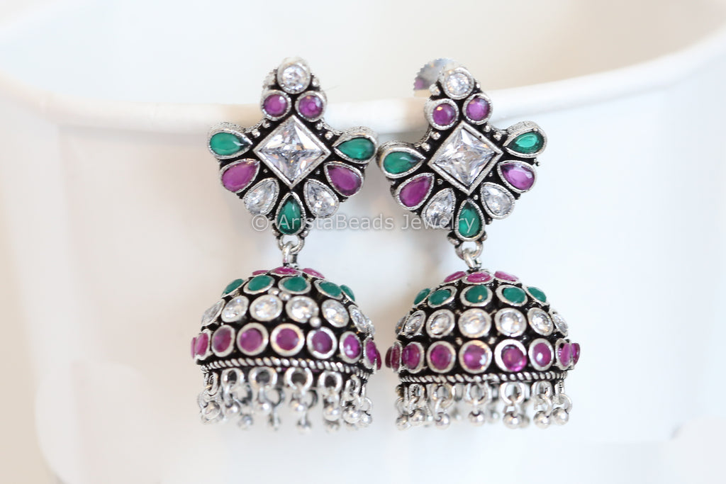 Ruby, Emerald and Polki Silver Finish Jhumka