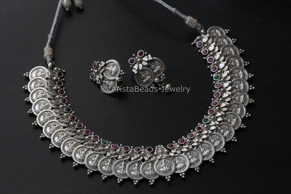 Oxidized Lakshmi Coin Necklace