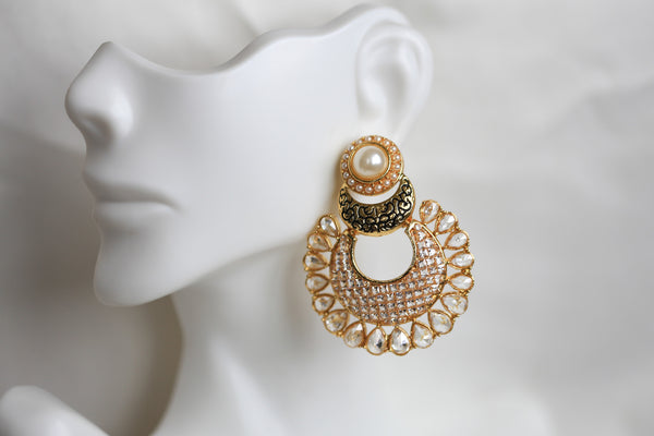 Contemporary CZ Chandbaali - AristaBeads Jewelry - 6