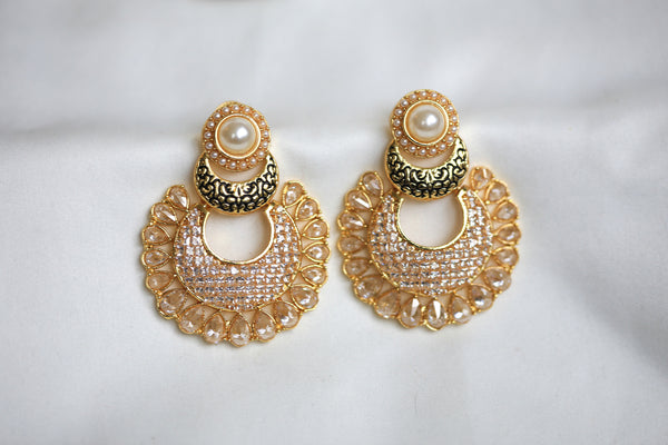 Contemporary CZ Chandbaali - AristaBeads Jewelry - 7