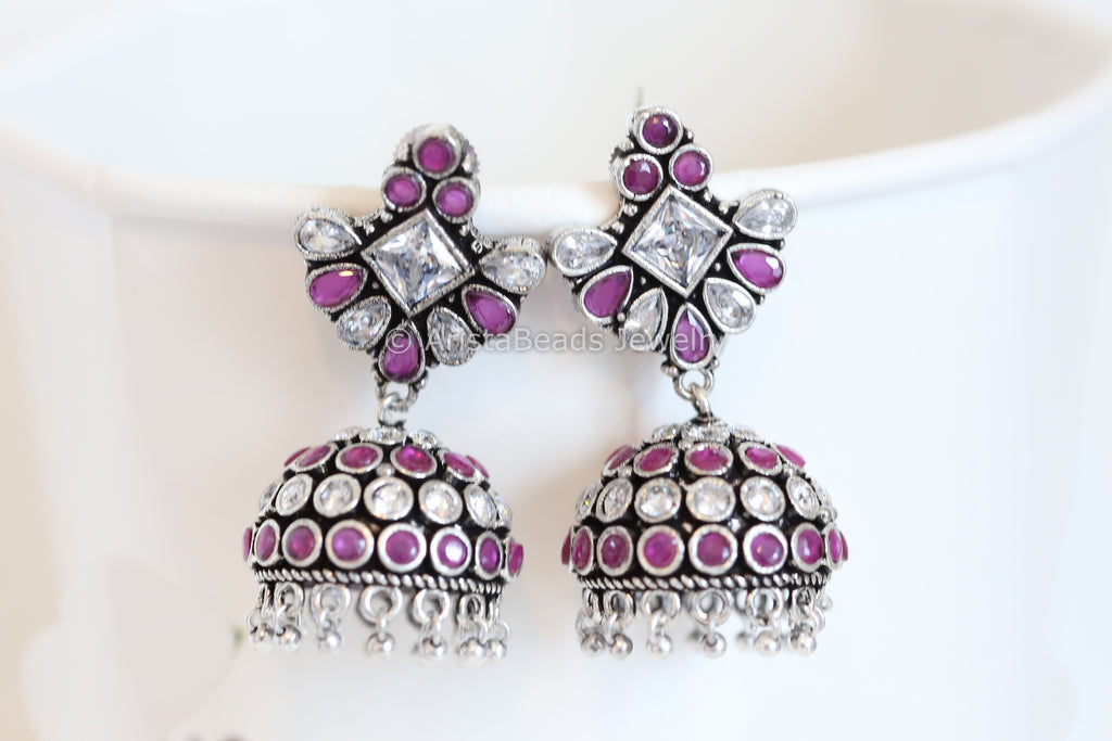 Clear Polki  and Ruby Silver Finish Jhumka