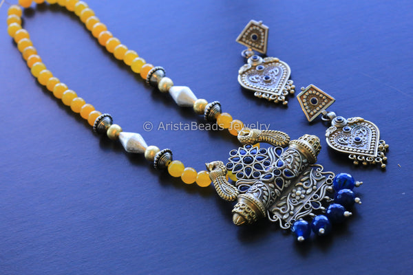 Dual Tone Yellow Blue Tribal Necklace
