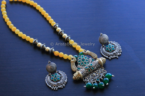 Dual Tone Yellow Green Tribal Necklace