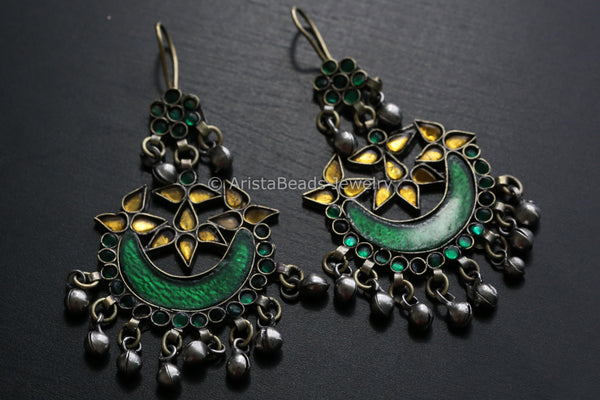 Yellow Green Afghan Earrings