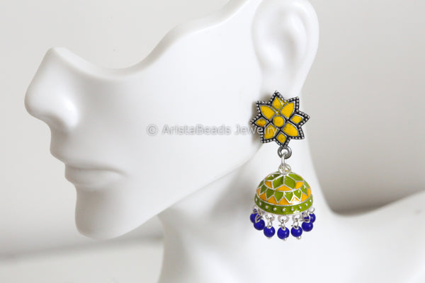 Yellow Enamel Jhumka