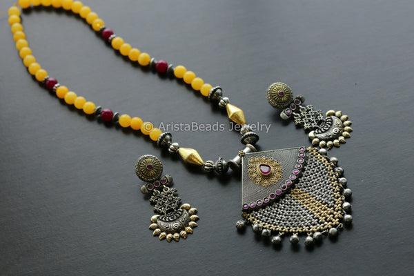 Dual Tone Yellow Tribal Necklace