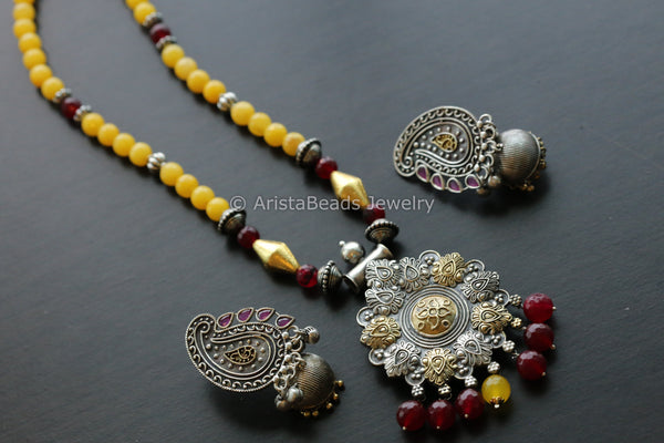 Dual Tone Yellow Beaded Necklace
