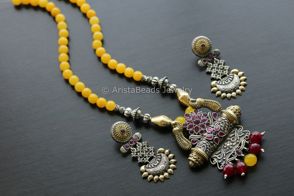 Dual Tone Yellow Ruby  Necklace