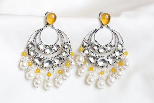 Yellow Kundan Earrings
