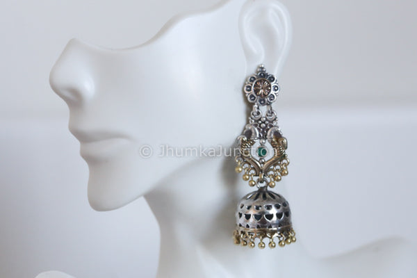 Long Dual Tone Green Jhumka