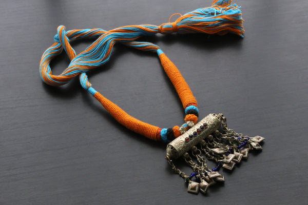 Vintage Tribal Necklace - Blue Yellow Tassel