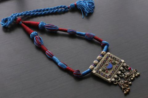 Vintage Tribal Necklace - Blue Red Silk Tassel