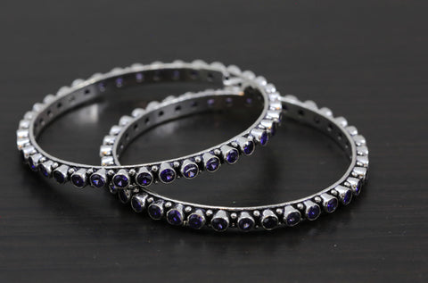 Silver Oxidized CZ Bangles - Purple