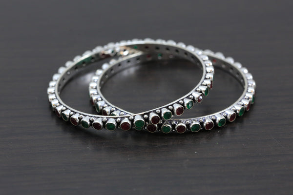 Silver Oxidized CZ Bangles - Green Ruby
