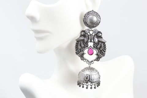 Large CZ Chandbaali Jhumka - Clear Ruby