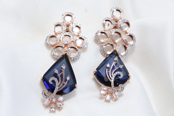 Contemporary Rose Gold Blue Earrings