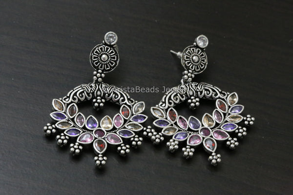 Multicolor CZ Silver Look Chandbaali