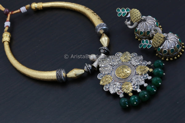 Green Hasli Necklace Jhumka Set