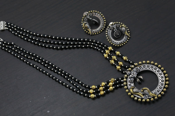 Oxidized Black Beaded Necklace Set