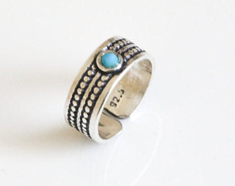 925 Silver Toe Ring - Turquoise