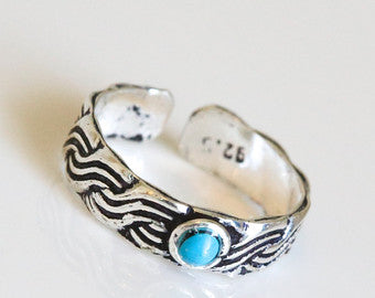 925 Sterling Silver Toe Ring - Turquoise