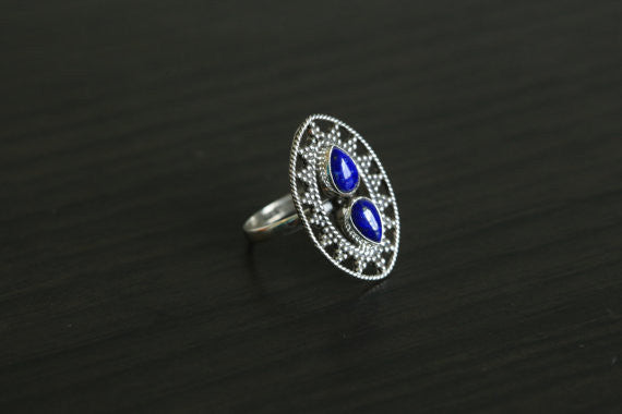 Lapis Lazuli Ring Oval in 925 Silver, US size 6 - AristaBeads Jewelry - 1