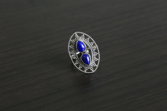 Lapis Lazuli Ring Oval in 925 Silver, US size 6 - AristaBeads Jewelry - 3