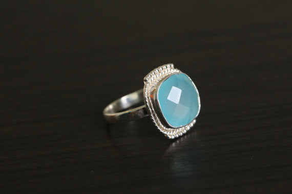 Cushion Cut Chalcedony Aqua Ring in 925 Silver - AristaBeads Jewelry - 3