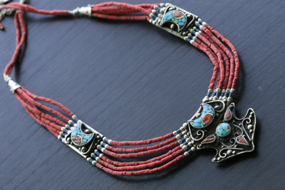 Coral Turquoise Reversible Tibetan Necklace - AristaBeads Jewelry - 2