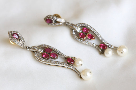 Victorian CZ Bridal Earrings - AristaBeads Jewelry - 1