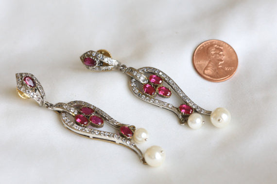 Victorian CZ Bridal Earrings - AristaBeads Jewelry - 2