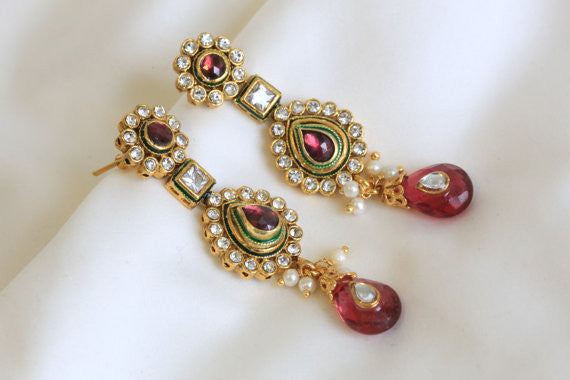Ethnic Kundan Earring in 4 colors - AristaBeads Jewelry - 3
