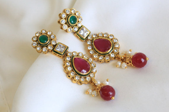 Ethnic Kundan Earring in 4 colors - AristaBeads Jewelry - 4