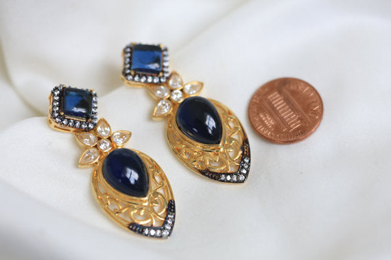 Blue Victorian CZ Earring - AristaBeads Jewelry - 1