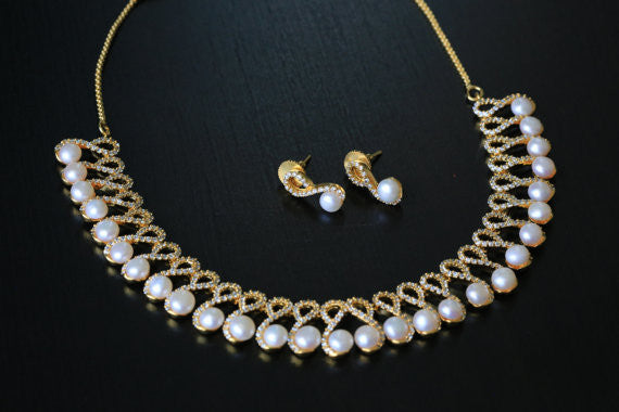 Contemporary CZ Pearl Necklace Set - AristaBeads Jewelry - 2