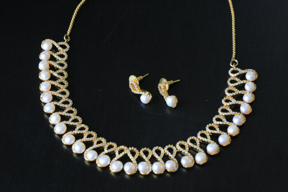 Contemporary CZ Pearl Necklace Set - AristaBeads Jewelry - 1