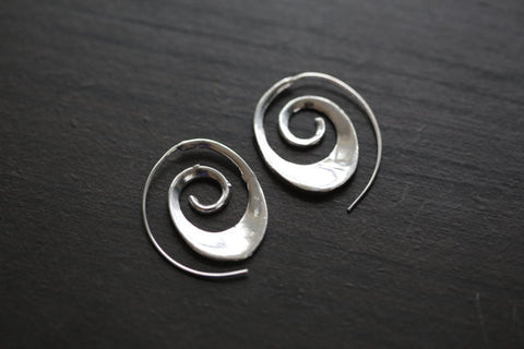 Cute White Brass spiral earrings - AristaBeads Jewelry - 1