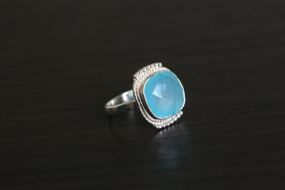 Cushion Cut Chalcedony Aqua Ring in 925 Silver - AristaBeads Jewelry - 2