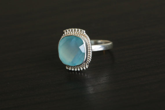 Cushion Cut Chalcedony Aqua Ring in 925 Silver - AristaBeads Jewelry - 1