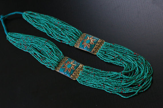 Turquoise coral tibetan necklace - AristaBeads Jewelry - 5