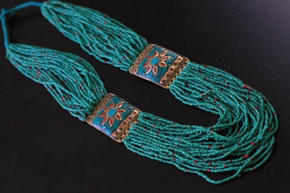Turquoise coral tibetan necklace - AristaBeads Jewelry - 3