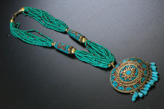 Turquoise seed beads tibetan necklace - AristaBeads Jewelry - 1