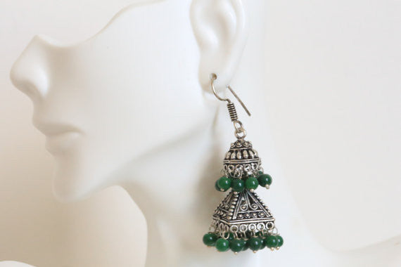 Layered Oxidized Jhumka -Assorted colors - AristaBeads Jewelry - 4