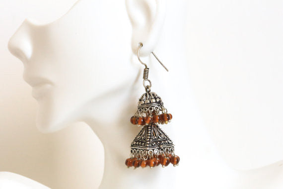 Layered Oxidized Jhumka -Assorted colors - AristaBeads Jewelry - 3