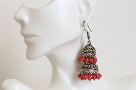 Layered Oxidized Jhumka -Assorted colors - AristaBeads Jewelry - 1