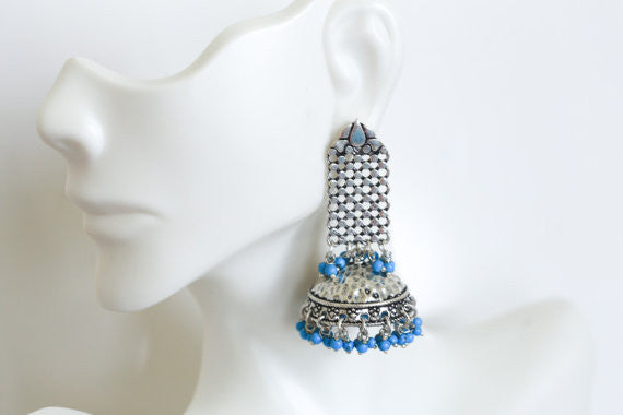 Statement Turquoise  Silver Jhumka - AristaBeads Jewelry - 4